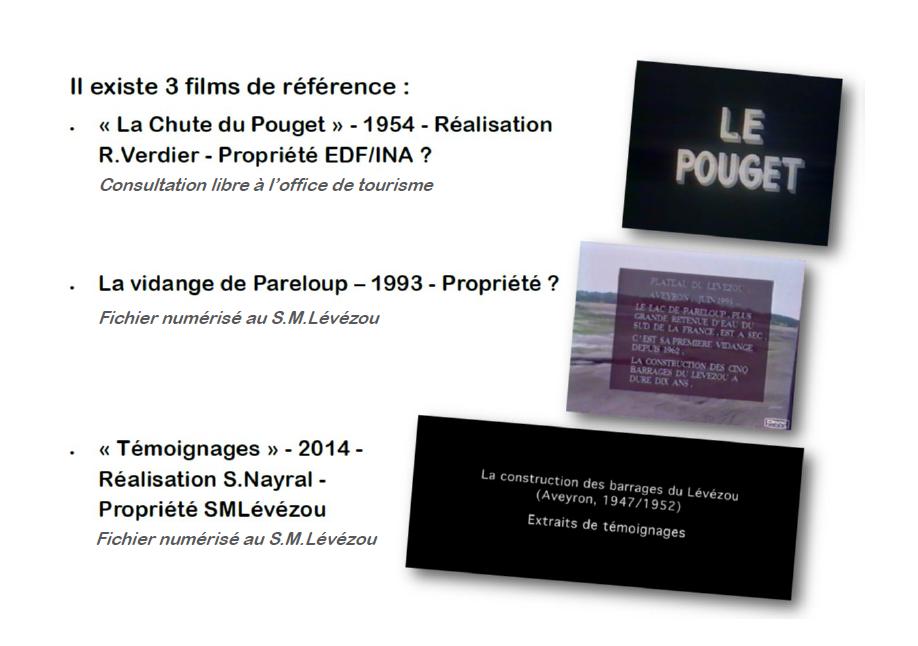 Présentation des films qui portent sur les barrages du Lévézou en Aveyron