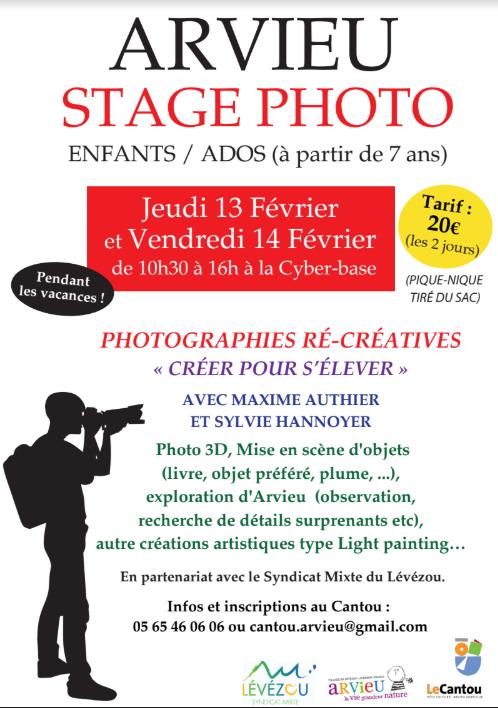 Stage de photo à Arvieu les 13 et 14 Février en Aveyron