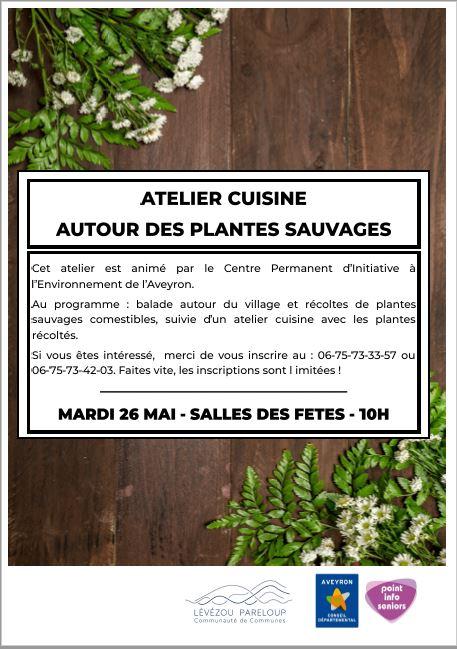 Atelier cuisine : cuisiner des plantes sauvages Lévézou : le mardi 26 mai 2020 de 10h à 12h30 à Ségur et sera animé par le CPIE de Millau.