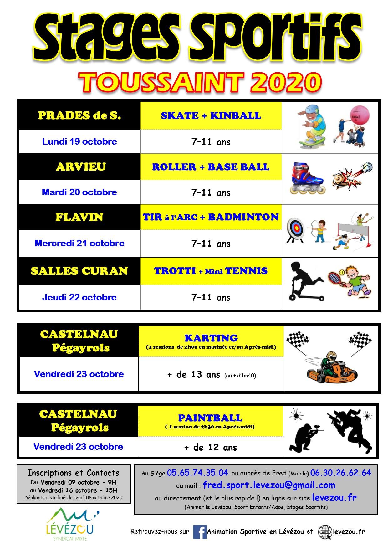 Affiche Stages sportifs Lévézou Toussaint 2020