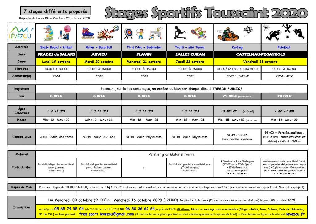 informations Stages sportifs Lévézou Toussaint 2020