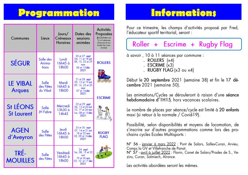 école multisports pour les enfants de 7 à 11 ans - cycle septembre à décembre 2021